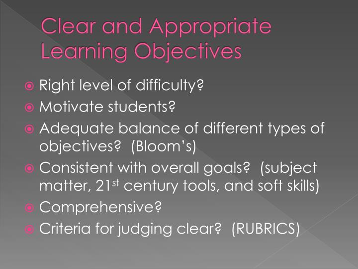Clear and Appropriate Learning Objectives