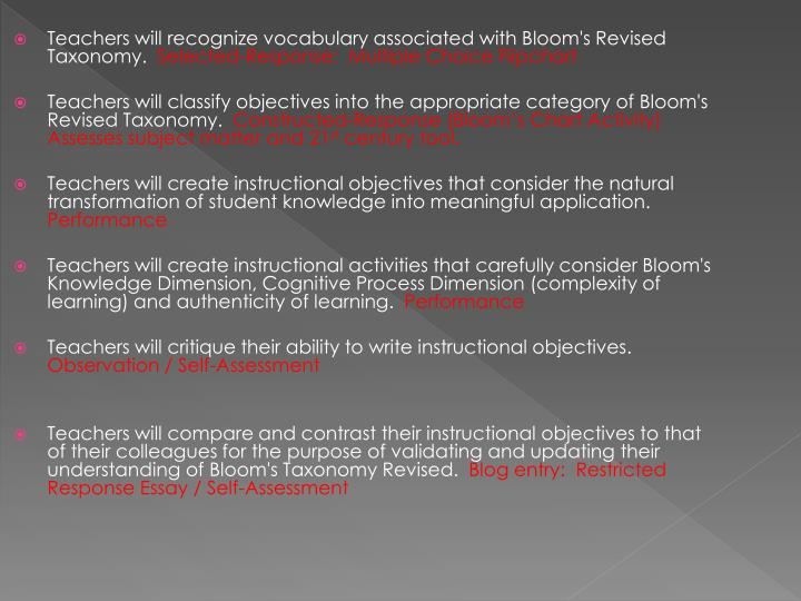 Teachers will recognize vocabulary associated with Bloom's Revised Taxonomy.