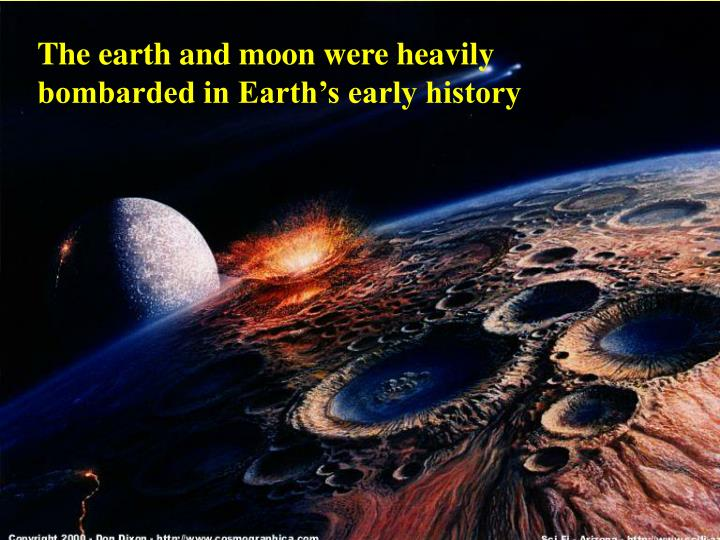 The earth and moon were heavily