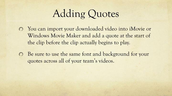 Adding Quotes