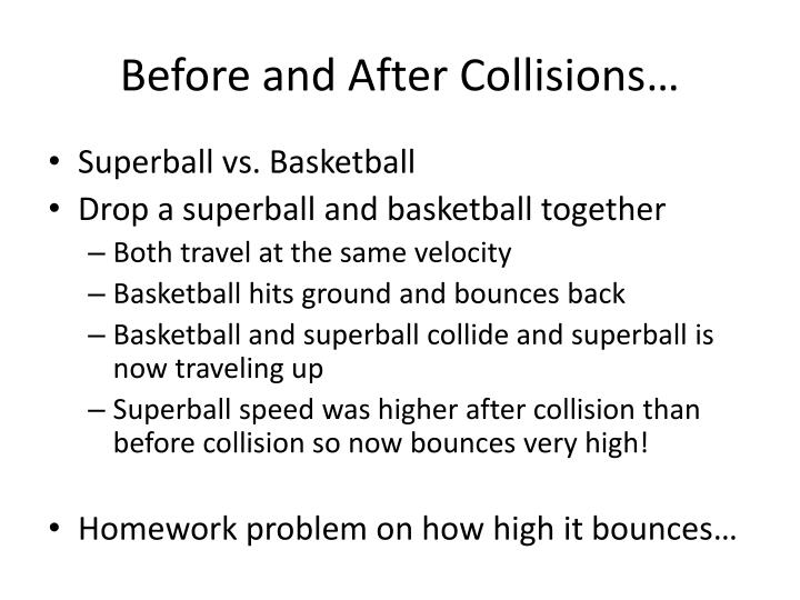 Before and After Collisions…