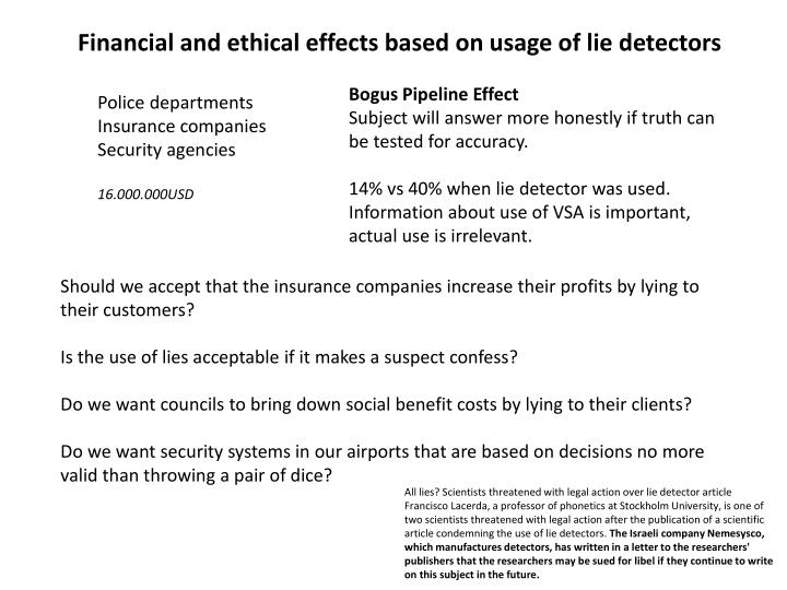 Financial and ethical effects based on usage of lie