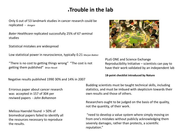 Trouble in the lab