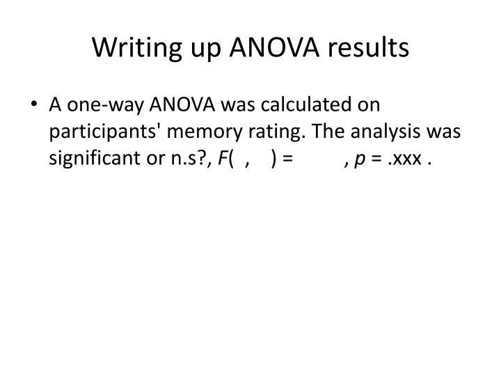 Writing up ANOVA results