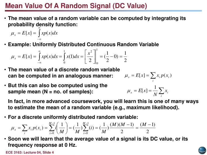 Mean Value Of A Random Signal (DC Value)