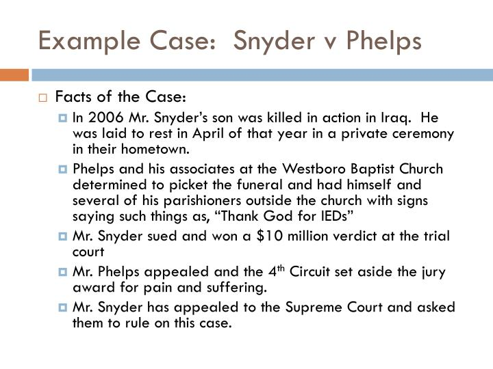 Example case snyder v phelps