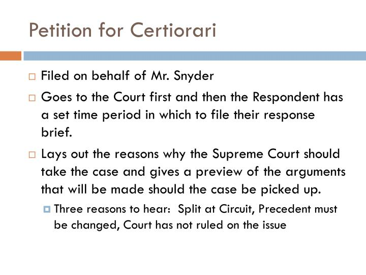 Petition for Certiorari