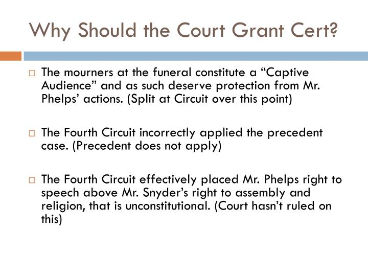 Why Should the Court Grant Cert?