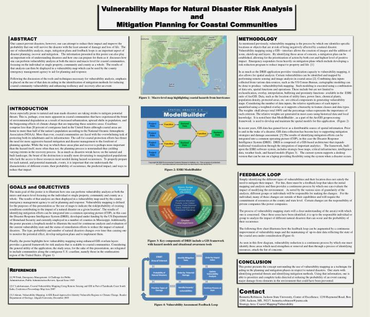 Vulnerability Maps for Natural Disaster Risk Analysis and