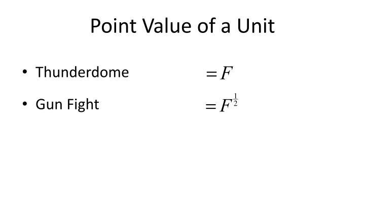 Point Value of a Unit