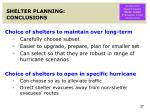 shelter planning conclusions
