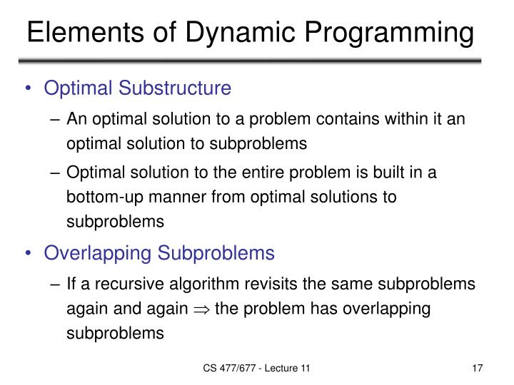 Elements of Dynamic Programming