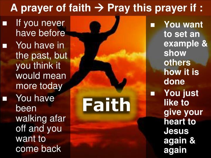 A prayer of faith