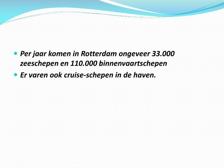 Per jaar komen in Rotterdam ongeveer 33.000 zeeschepen en 110.000 binnenvaartschepen