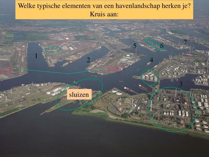 Welke typische elementen van een havenlandschap herken je? Kruis aan: