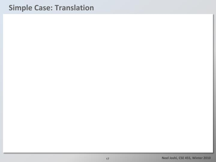 Simple Case: Translation