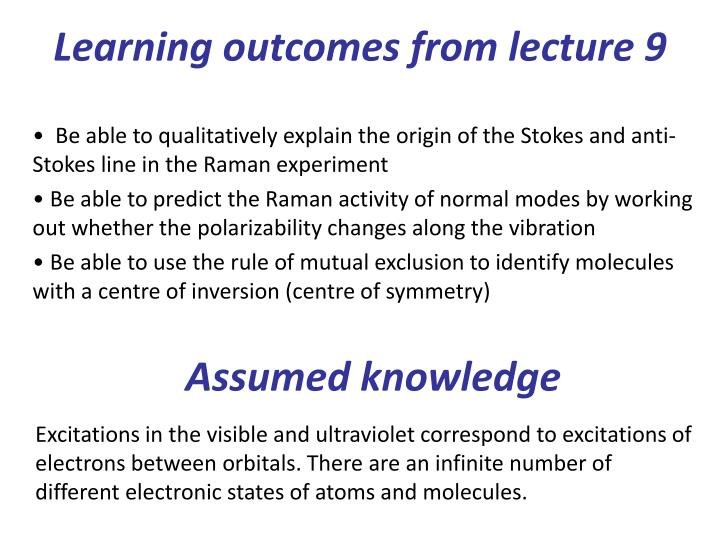 Learning outcomes from lecture 9