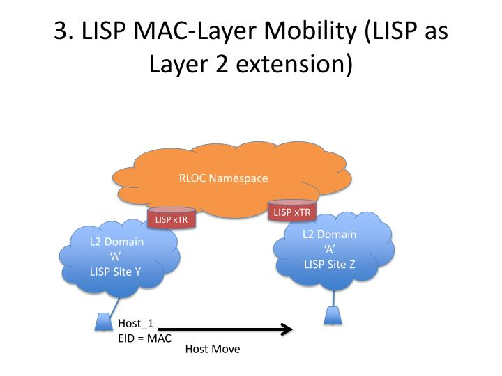 3. LISP MAC-Layer Mobility (LISP as Layer 2 extension)
