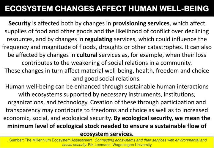 ECOSYSTEM CHANGES AFFECT HUMAN WELL-BEING