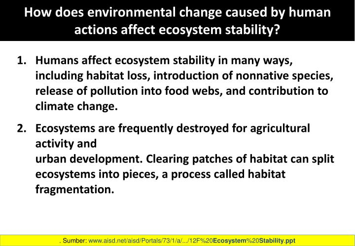 How does environmental change caused by human actions affect ecosystem stability?