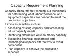 capacity requirement planning