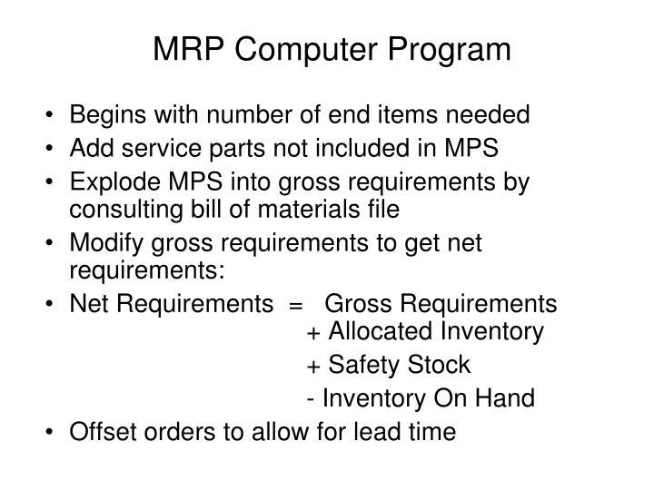 MRP Computer Program