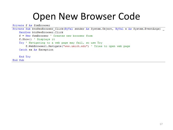 Open New Browser Code