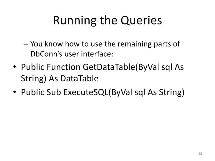 Running the Queries