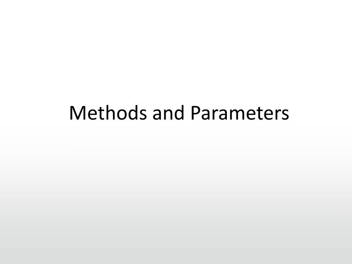 Methods and