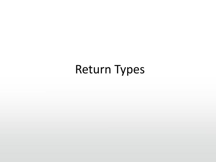 Return Types