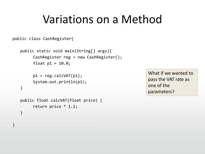 Variations on a Method