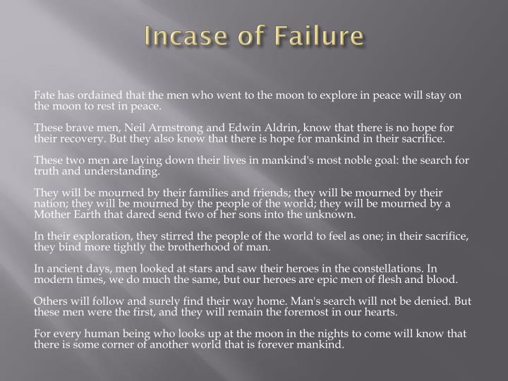 Incase of Failure