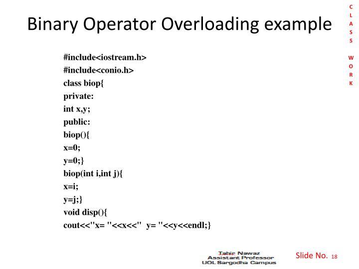 Binary Operator Overloading example