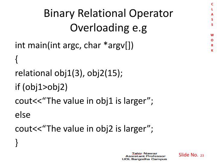 Binary Relational Operator Overloading