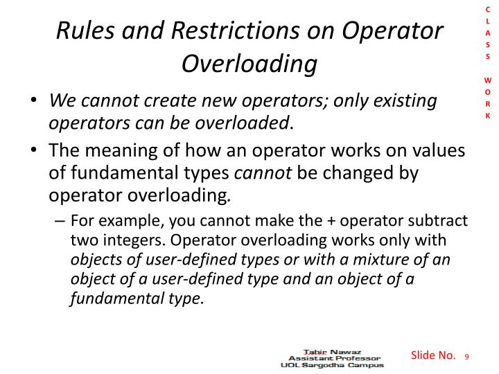 Rules and Restrictions on Operator Overloading