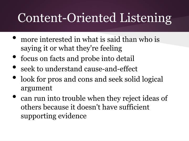 Content-Oriented Listening