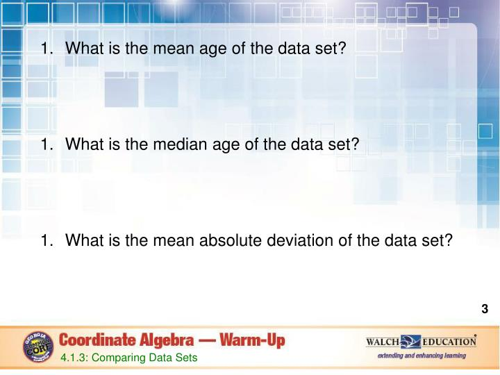 What is the mean age of the data set