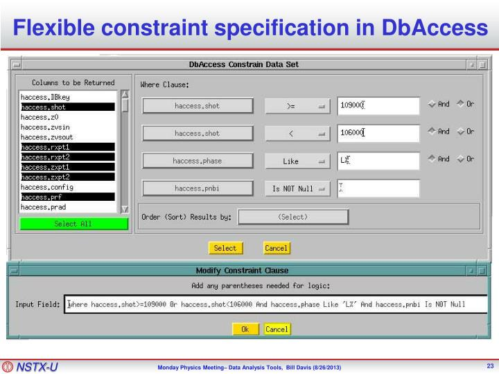 Flexible constraint specification in DbAccess