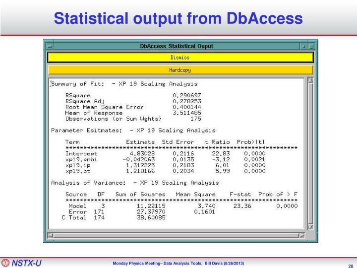 Statistical output from DbAccess