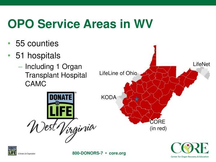 OPO Service Areas in WV