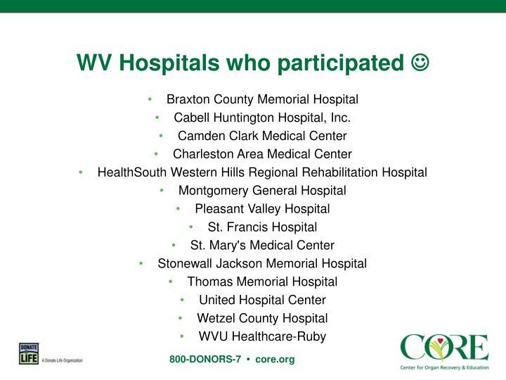 WV Hospitals who participated