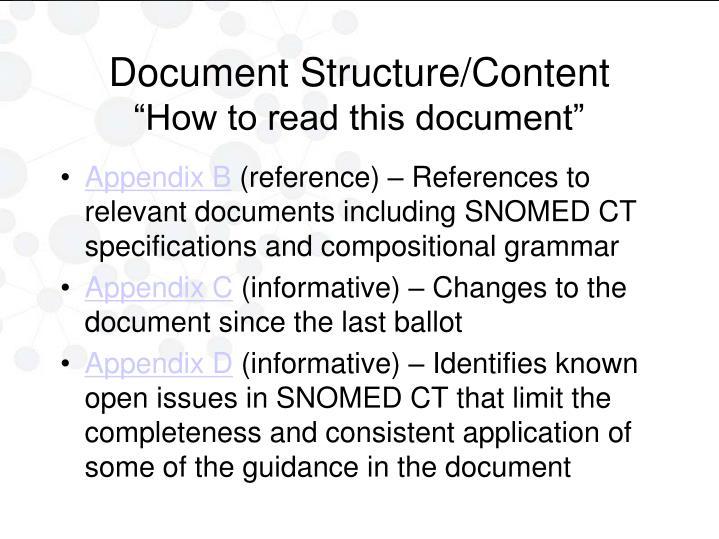 Document Structure/Content