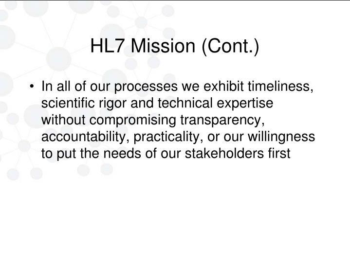 HL7 Mission (Cont.)