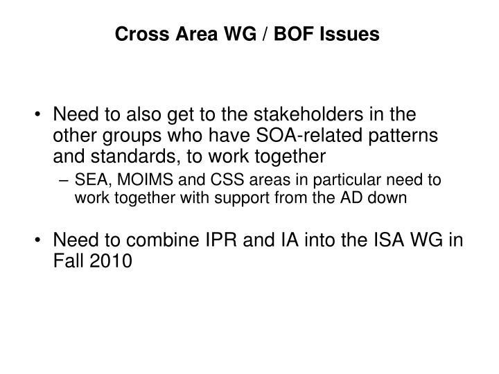 Cross Area WG / BOF Issues