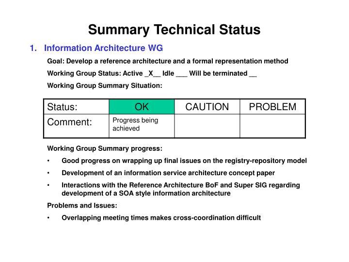 Summary Technical Status