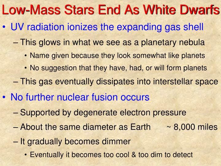 Low-Mass Stars End As White Dwarfs