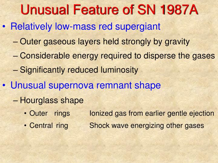 Unusual Feature of SN 1987A
