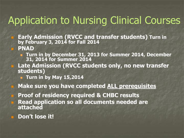 Application to Nursing Clinical Courses