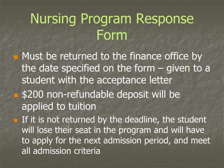 Nursing Program Response Form