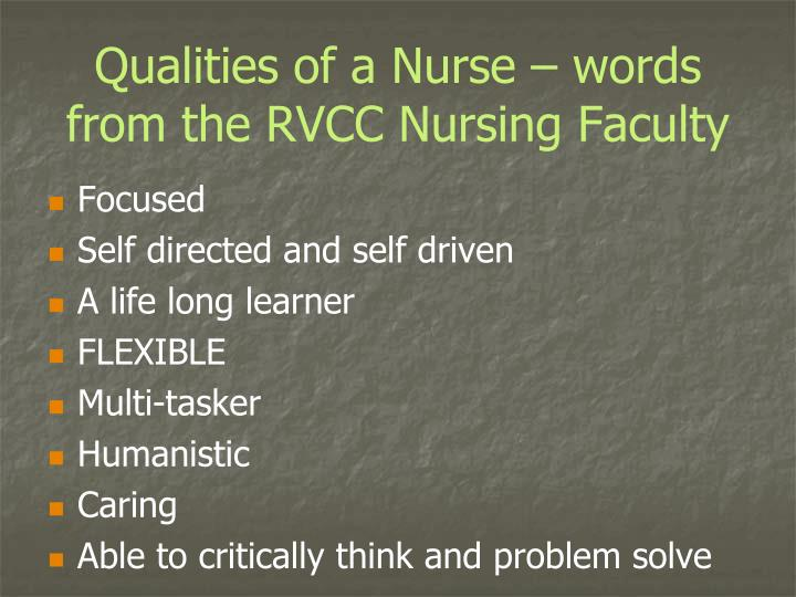 Qualities of a Nurse – words from the RVCC Nursing Faculty